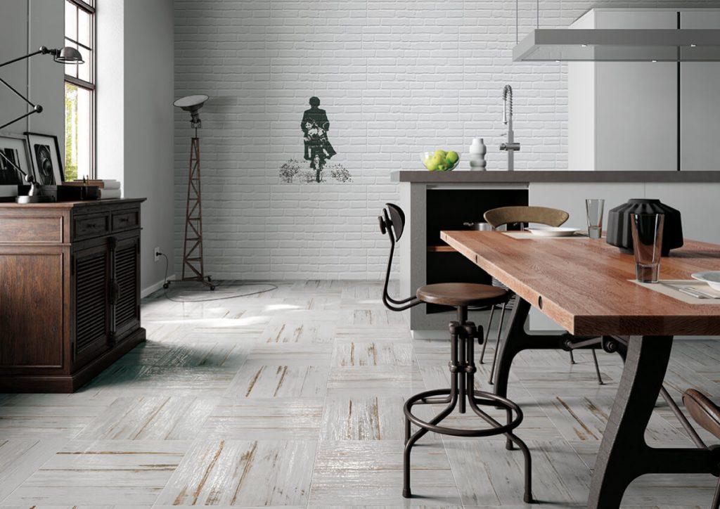 Sett 48x48 Muretto Decoro Bianco